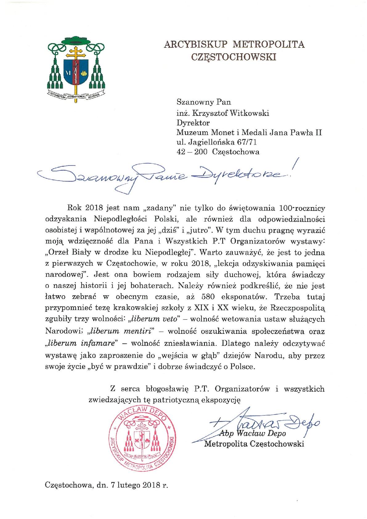 List abpa Wacława Depo, Metropolity Częstochowskiego, który podczas oficjalnego otwarcia odczytał bp Andrzej Przybylski